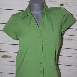 Shirt 10P Green Short Sleeve Button Front Fitted